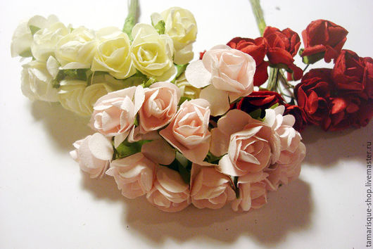 Открытки и скрапбукинг ручной работы. Ярмарка Мастеров - ручная работа. Купить Роза бумажная, диаметр 15 мм. Handmade. Белый
