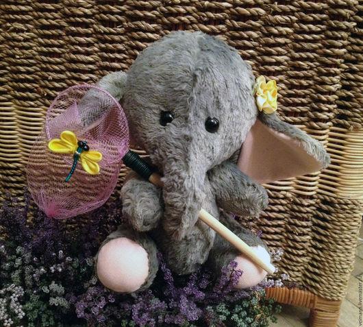 Мишки Тедди ручной работы. Ярмарка Мастеров - ручная работа. Купить Слоник Леся, которая очень любит бабочек. Handmade.