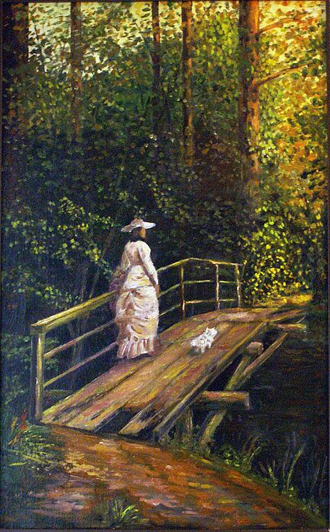 Пейзаж ручной работы. Ярмарка Мастеров - ручная работа. Купить Дама с собачкой. Handmade. Картина, холст, пейзаж, цветы, двп