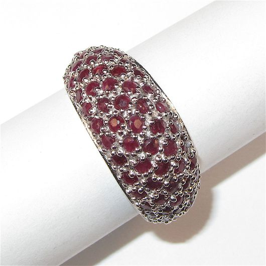Кольца ручной работы. Ярмарка Мастеров - ручная работа. Купить Кольцо с рубином серебряное. Handmade. Бордовый, кольцо с камнями
