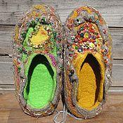 """Обувь ручной работы. Ярмарка Мастеров - ручная работа Валяные тапки """"Двое из ларца"""" ПОДАРЕНЫ дочке. Handmade."""
