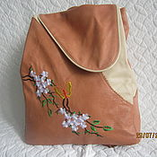 """Рюкзак кожаный """"Цветенье лета""""."""