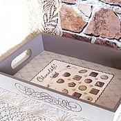 """Для дома и интерьера ручной работы. Ярмарка Мастеров - ручная работа Поднос деревянный """"Шоколад""""  кухня, (прямоугольный). Handmade."""