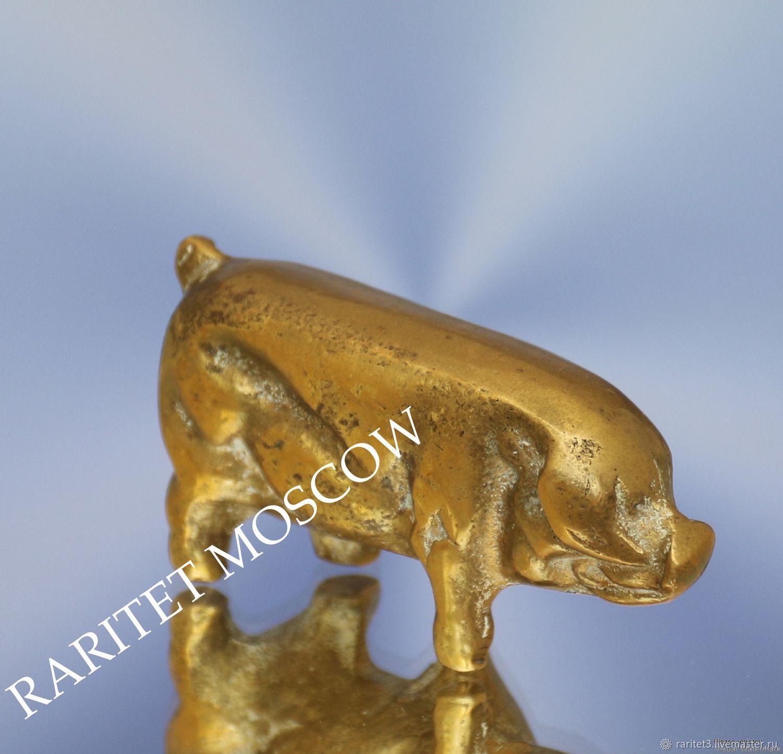 Винтаж: Свинья бронза латунь Англия 2, Винтажные предметы интерьера, Москва, Фото №1