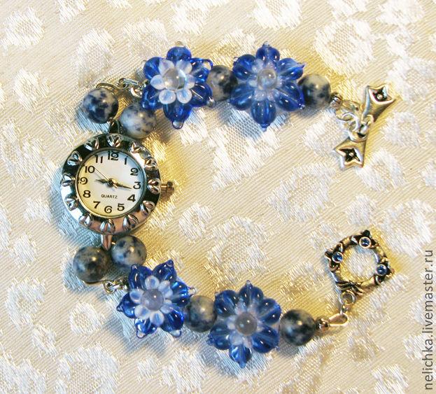 Часы-браслет с содалитом, Браслет из бусин, Новая Усмань,  Фото №1