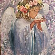 Картины и панно ручной работы. Ярмарка Мастеров - ручная работа Картина маслом Ангел.. Handmade.