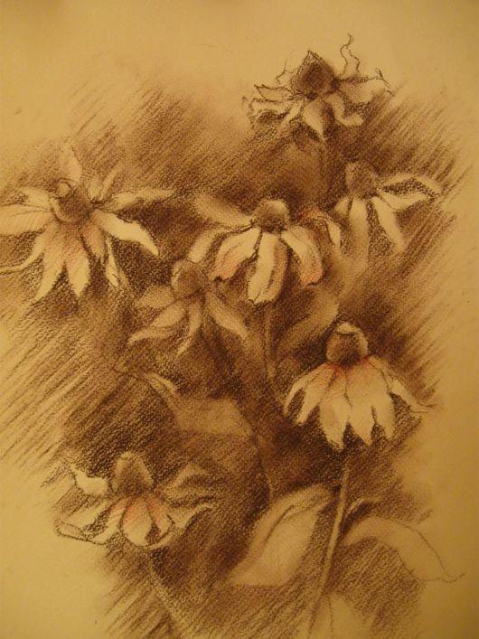 Картины цветов ручной работы. Ярмарка Мастеров - ручная работа. Купить Цветы в сепии. Handmade. Бумага, панно на стену