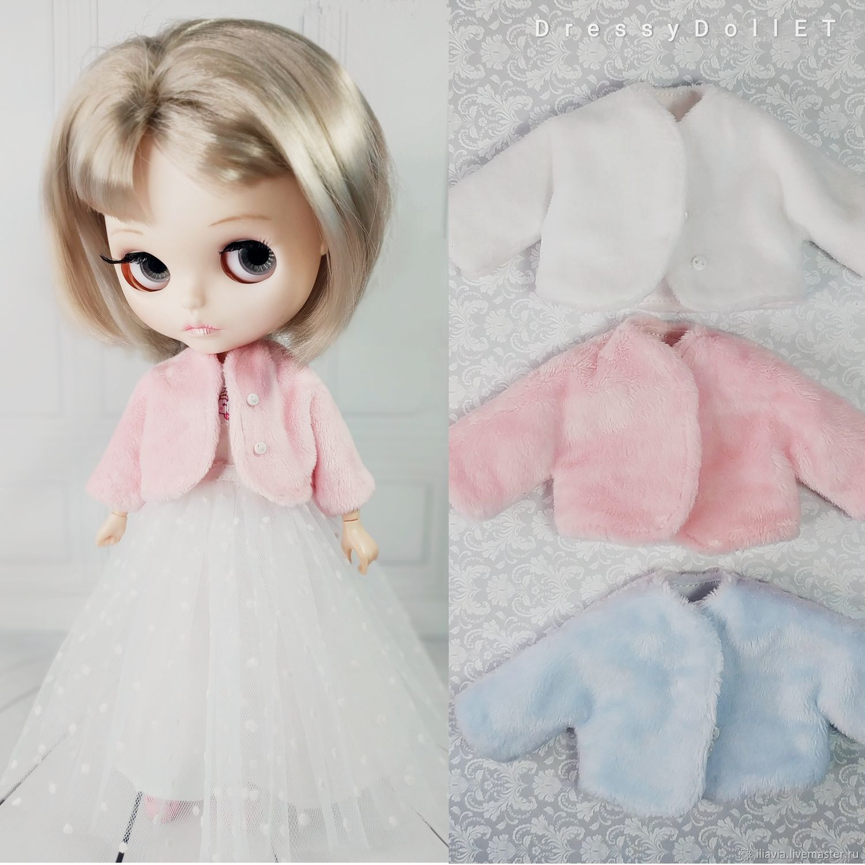 Fur jacket for Blythe made of plush. White, Pink, Blue, Clothes for dolls, Arkhangelsk,  Фото №1