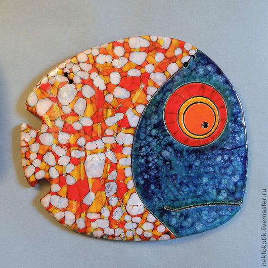 Животные ручной работы. Ярмарка Мастеров - ручная работа. Купить Керамическое панно «Рыба озабоченная». Handmade. Рыба, Керамика, шамот