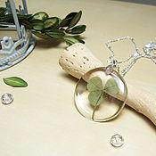 Украшения handmade. Livemaster - original item Transparent Pendant with Real Leaf Clover Shamrock Botany. Handmade.