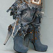 """Обувь ручной работы. Ярмарка Мастеров - ручная работа Сапожки джинсовые """"Кокетка"""". Handmade."""
