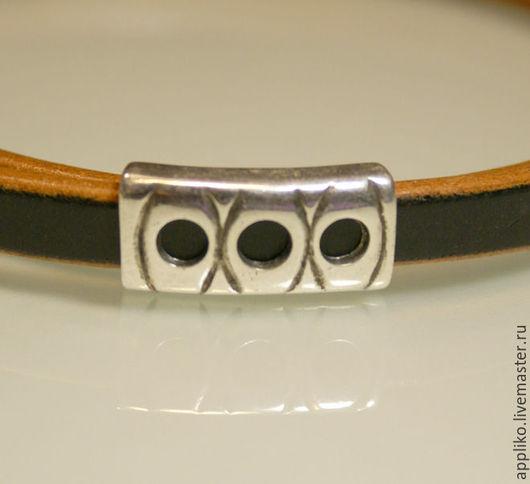 Для украшений ручной работы. Ярмарка Мастеров - ручная работа. Купить Бусина для шнура 10х5мм, 10х4.5(три отверстия). Handmade.