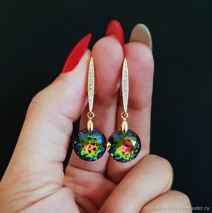 'Kaleidoscope' crystal drop earrings, Earrings, Krasnodar,  Фото №1