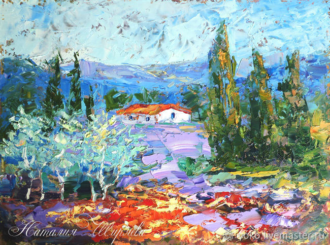 Painting Provence 'Landscape with Lavender and Olive' oil impressionism, Pictures, Voronezh,  Фото №1