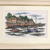 """Картины и панно ручной работы. Ярмарка Мастеров - ручная работа Вышитая картина """"Акварельная гавань"""". Handmade."""