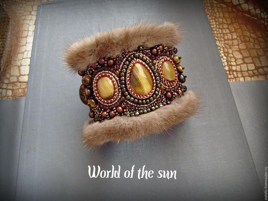 Вышитый бисером браслет с мехом норки `Imperial luxury`. Автор: Наталья Задыхайло.