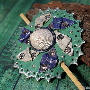 Украшения ручной работы. Ярмарка Мастеров - ручная работа Кожаная заколка с ракушкой. Handmade.