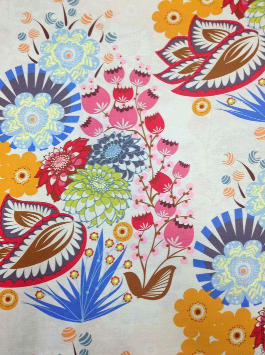 """Шитье ручной работы. Ярмарка Мастеров - ручная работа. Купить Ткань """"Summer Totem"""". Handmade. Голубой, ткань для пэчворка"""