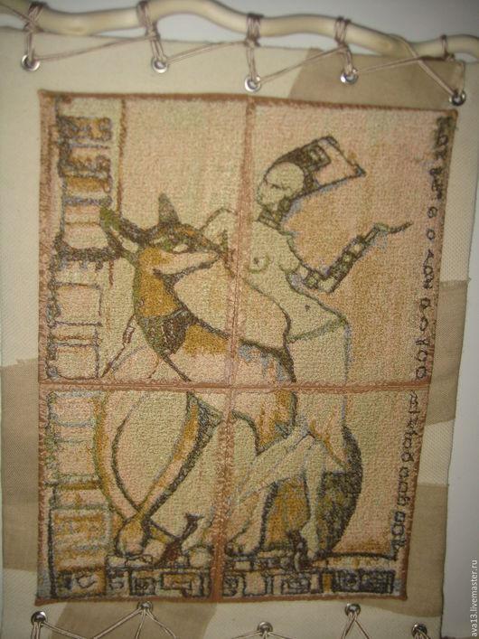 """Животные ручной работы. Ярмарка Мастеров - ручная работа. Купить Панно """"Египет"""". Handmade. Комбинированный, Кошки, оберег с лотосом"""