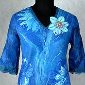 """Одежда ручной работы. Ярмарка Мастеров - ручная работа платье валяное """"Голубые клематисы"""". Handmade."""