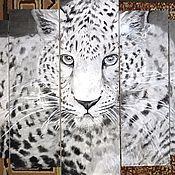 """Картины и панно ручной работы. Ярмарка Мастеров - ручная работа """"Леопард"""" модульная картина. Handmade."""