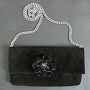 Сумки и аксессуары handmade. Livemaster - original item clutches: Black suede clutch with flower. Handmade.