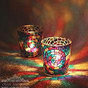 Подарки к праздникам handmade. Livemaster - original item Candle holder with mosaic pattern. Stained glass painting.. Handmade.