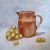 Картины и панно ручной работы. Ярмарка Мастеров - ручная работа Натюрморт с кувшином и виноградом. Handmade.