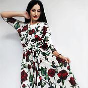 """Одежда ручной работы. Ярмарка Мастеров - ручная работа Роскошное длинное платье с принтом """"Розы"""". Handmade."""
