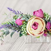 Свадебный салон ручной работы. Ярмарка Мастеров - ручная работа Розовое украшение для волос,  гребень с сиренью, Фуксия. Handmade.