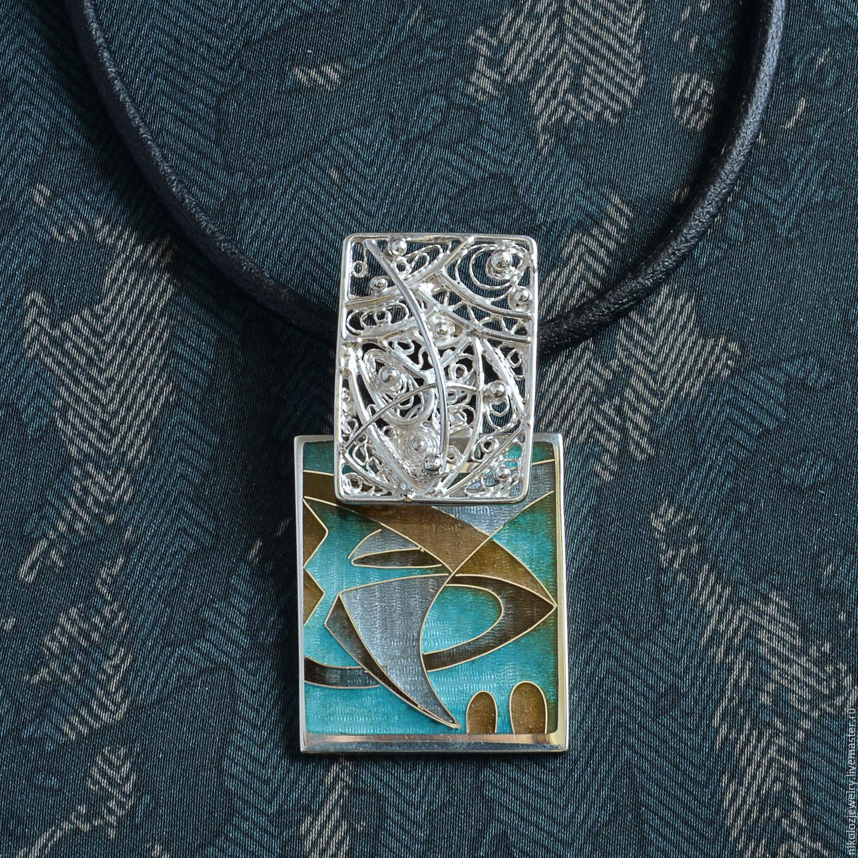 Cloisonne Enamel Filigree Pendant Abstract Jewelry Enamel