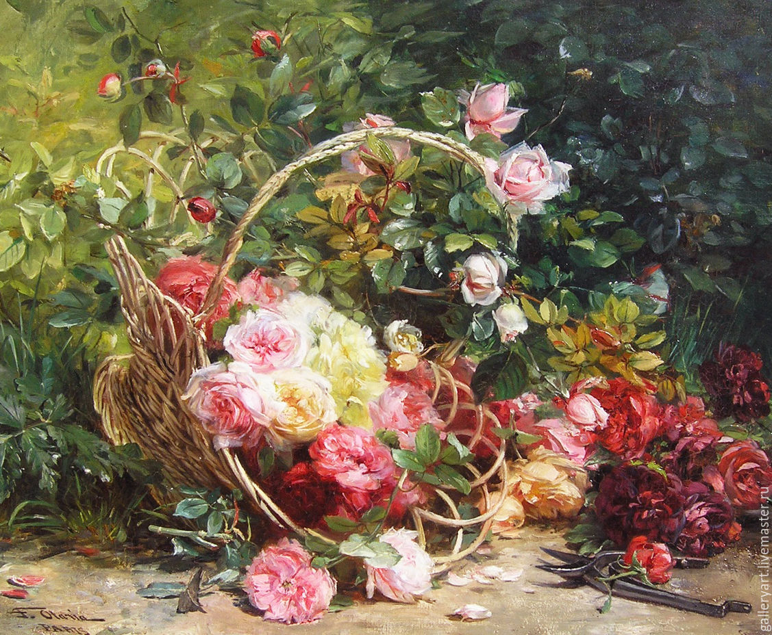 Painting 'Roses in a basket', Pictures, St. Petersburg,  Фото №1