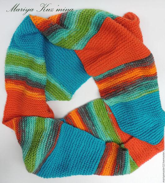 Шарфы и шарфики ручной работы. Ярмарка Мастеров - ручная работа. Купить Цветной снуд. Handmade. Комбинированный, шарф шерстяной, весна