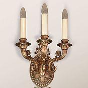 Бра ручной работы. Ярмарка Мастеров - ручная работа Бра трехрожковое (светильник настенный из бронзы). Handmade.