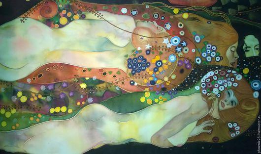 """Люди, ручной работы. Ярмарка Мастеров - ручная работа. Купить Батик, копия картины Густава Климта """"Водяные змеи"""". Handmade."""
