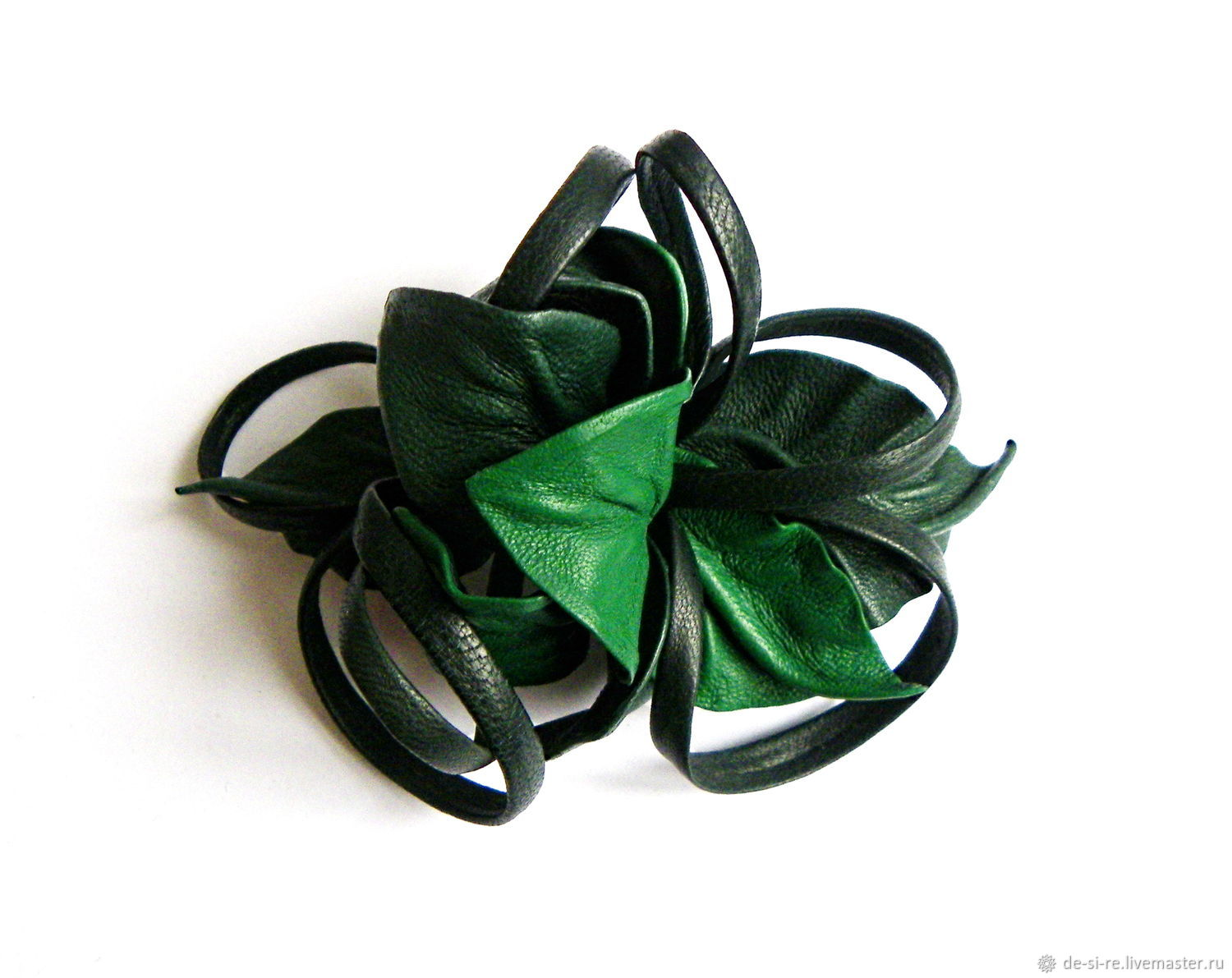 Hair clip automatic flower for hair Emerald green emerald, Hairpins, Moscow,  Фото №1