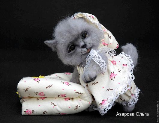 Куклы и игрушки ручной работы. Ярмарка Мастеров - ручная работа. Купить Кошечка тедди. Handmade. Серый, шерстяной котенок