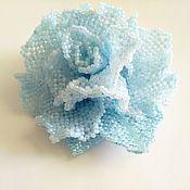 Подарки к праздникам handmade. Livemaster - original item ROSE-BLUE CLOUD. A beaded brooch. Handmade.
