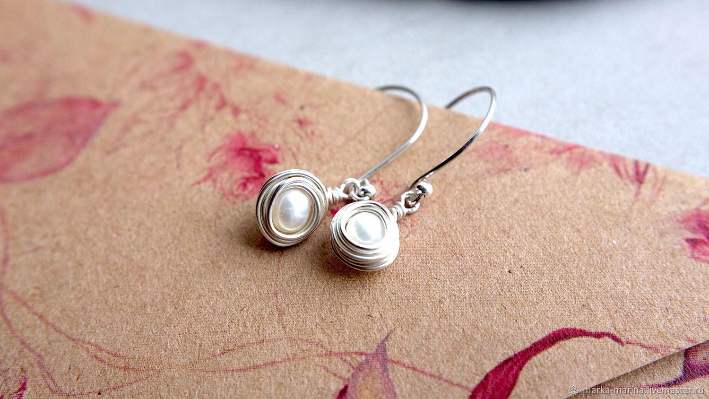 Earrings of pearl and 925 sterling silver, Earrings, Samara,  Фото №1