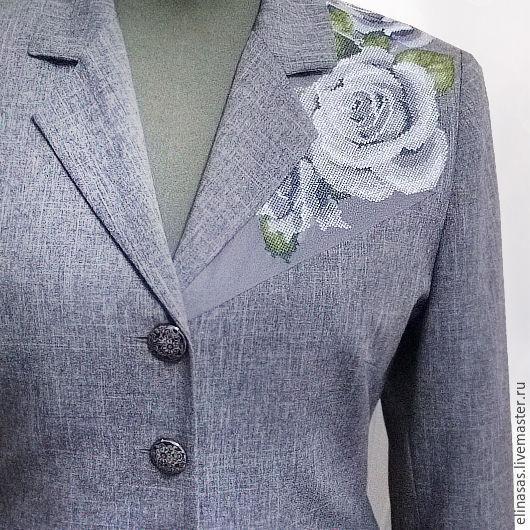 Пиджаки, жакеты ручной работы. Ярмарка Мастеров - ручная работа. Купить Жакет с вышивкой серый. Handmade. Серый, лист