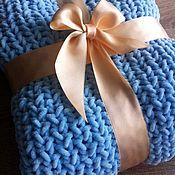 """Работы для детей, ручной работы. Ярмарка Мастеров - ручная работа Вязаный нежно-голубой Плюшевый плед """"Небеса"""". Handmade."""