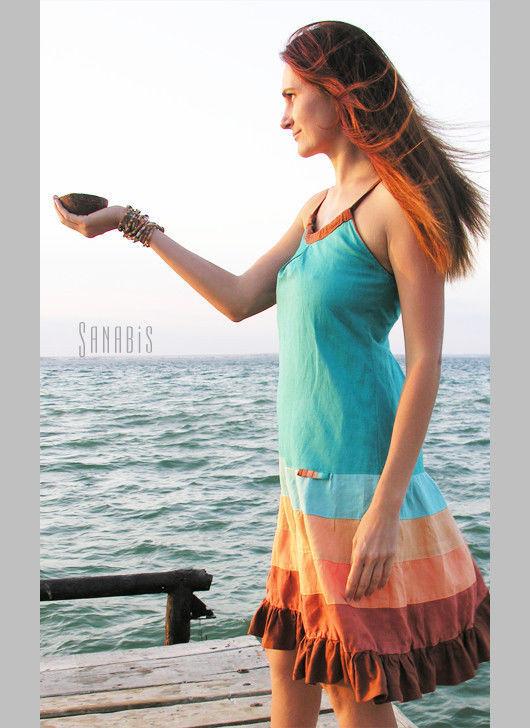 Платья ручной работы. Ярмарка Мастеров - ручная работа. Купить Платье из льна «Морское». Handmade. Морская волна, платье из льна