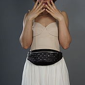 Сумки и аксессуары handmade. Livemaster - original item Black Leather Belt Bag on a Hip. Handmade.