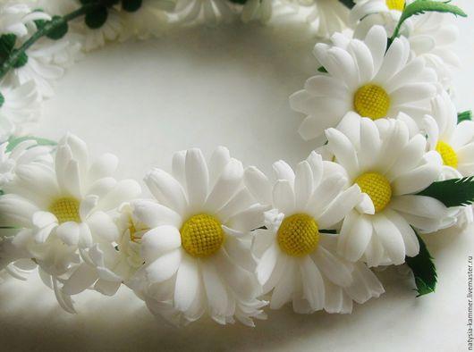 """Диадемы, обручи ручной работы. Ярмарка Мастеров - ручная работа. Купить Веночек """"Ромашковое поле"""". Handmade. Белый, ободок с цветами"""