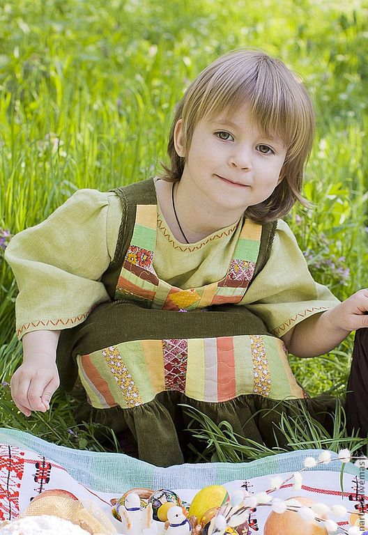Clothing handmade. Livemaster - handmade. Buy Sundress kids Summer Russian.Summer, Russian sarafan, cotton