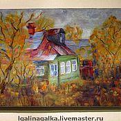"""Картины и панно ручной работы. Ярмарка Мастеров - ручная работа Шерстяная картина """"Золотая осень. После дождя"""".. Handmade."""