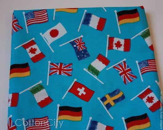 Шитье ручной работы. Ярмарка Мастеров - ручная работа. Купить Ткань хлопок США Флаги. Handmade. Ткань для творчества, хлопок