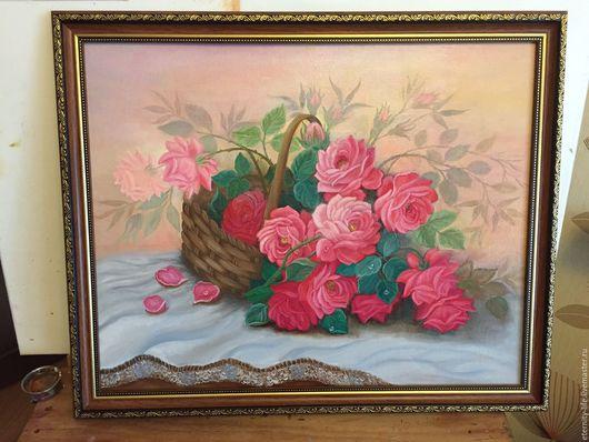 Картины цветов ручной работы. Ярмарка Мастеров - ручная работа. Купить Розы в подарок. Handmade. Бордовый, цветы, розы, в подарок