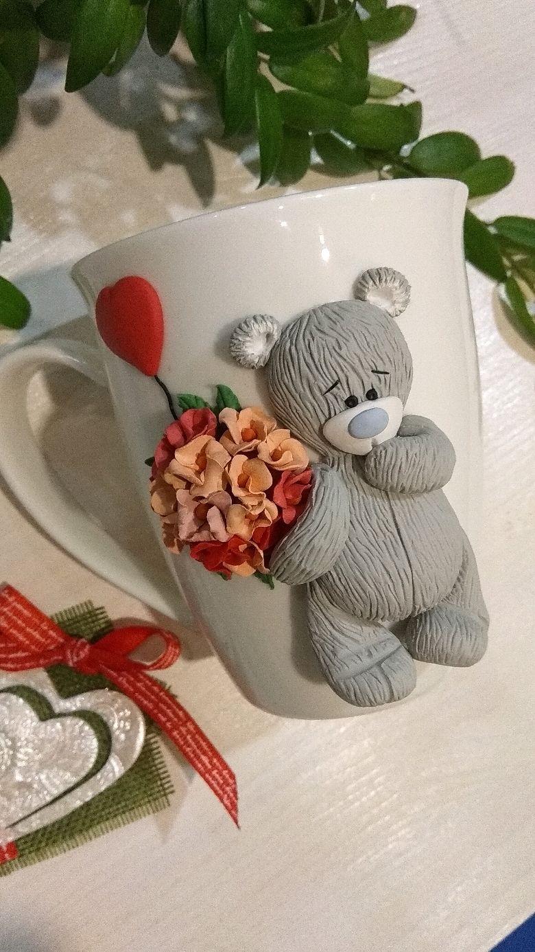 Кружка с декором Тедди, Подарки на 14 февраля, Москва,  Фото №1
