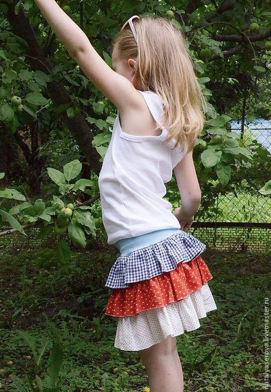 Одежда для девочек, ручной работы. Ярмарка Мастеров - ручная работа. Купить Юбочка для летних путешествий. Handmade. В клеточку, в горох